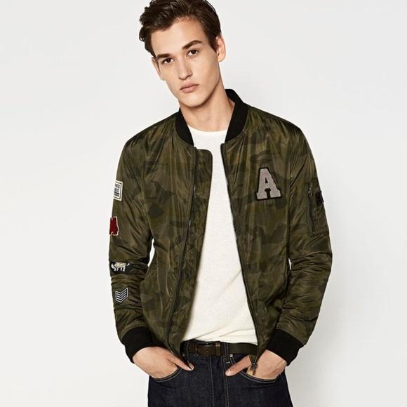 226dd69e Zara Jackets & Coats | Man Patches Camouflagle Bomber Jacket | Poshmark